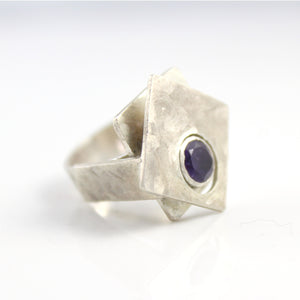 """Layered Planes"" sterling silver gemstone ring"