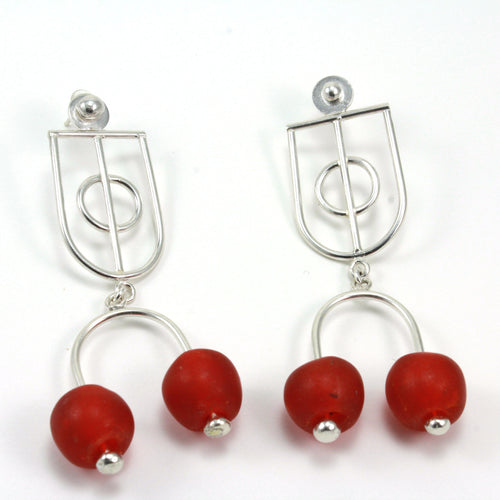 Serling silver krobo bead stud dangle earrings