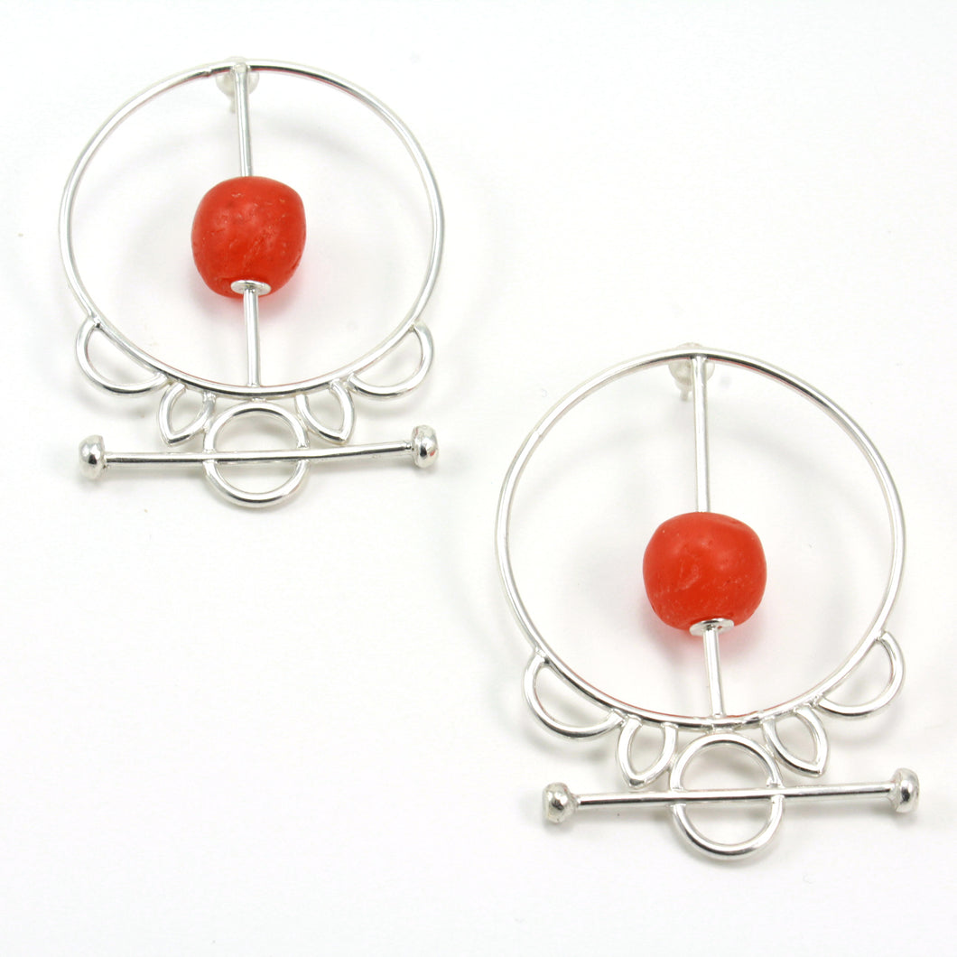 sterling silver tribal krobo bead earrings