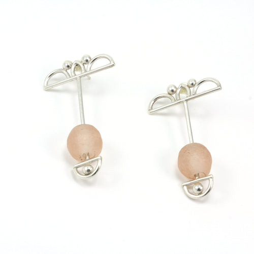 architectural sterling silver earrings with pink Krobo beads