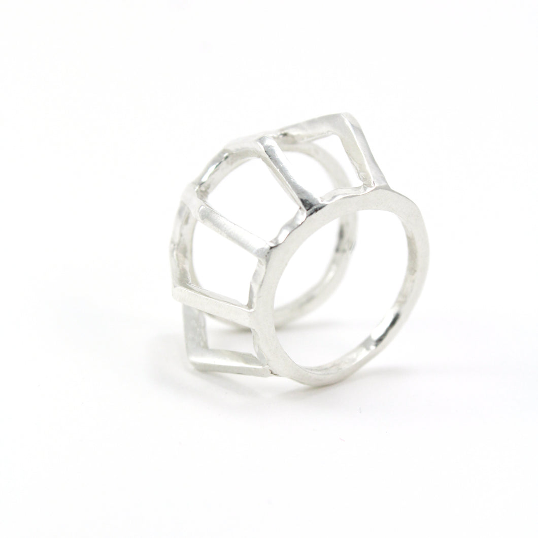 Sterling silver architectural statement ring