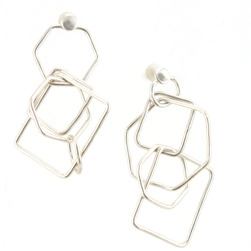 GeoFall-sterling silver cascading hexagons stud earrings
