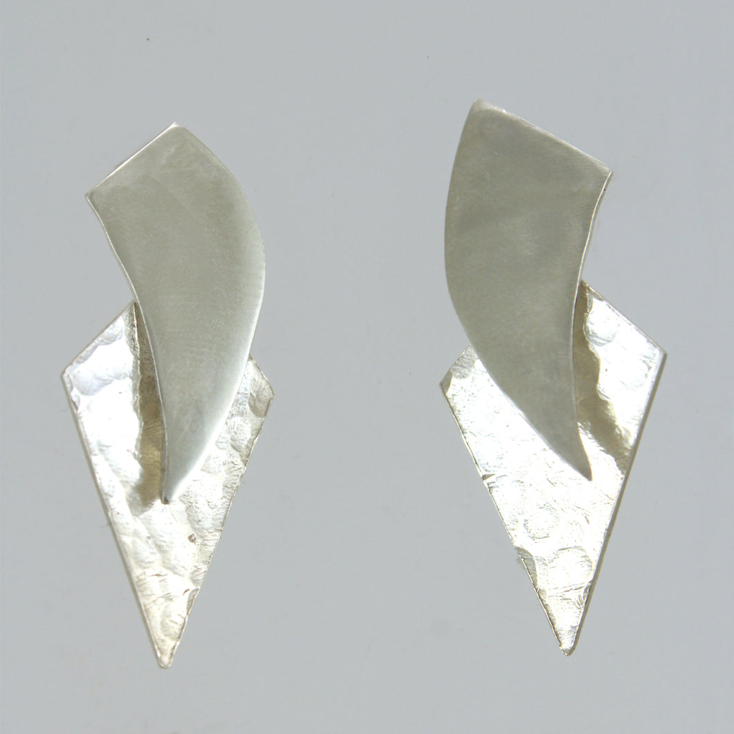 Sickles and Diamonds - sterling silver stud earrings