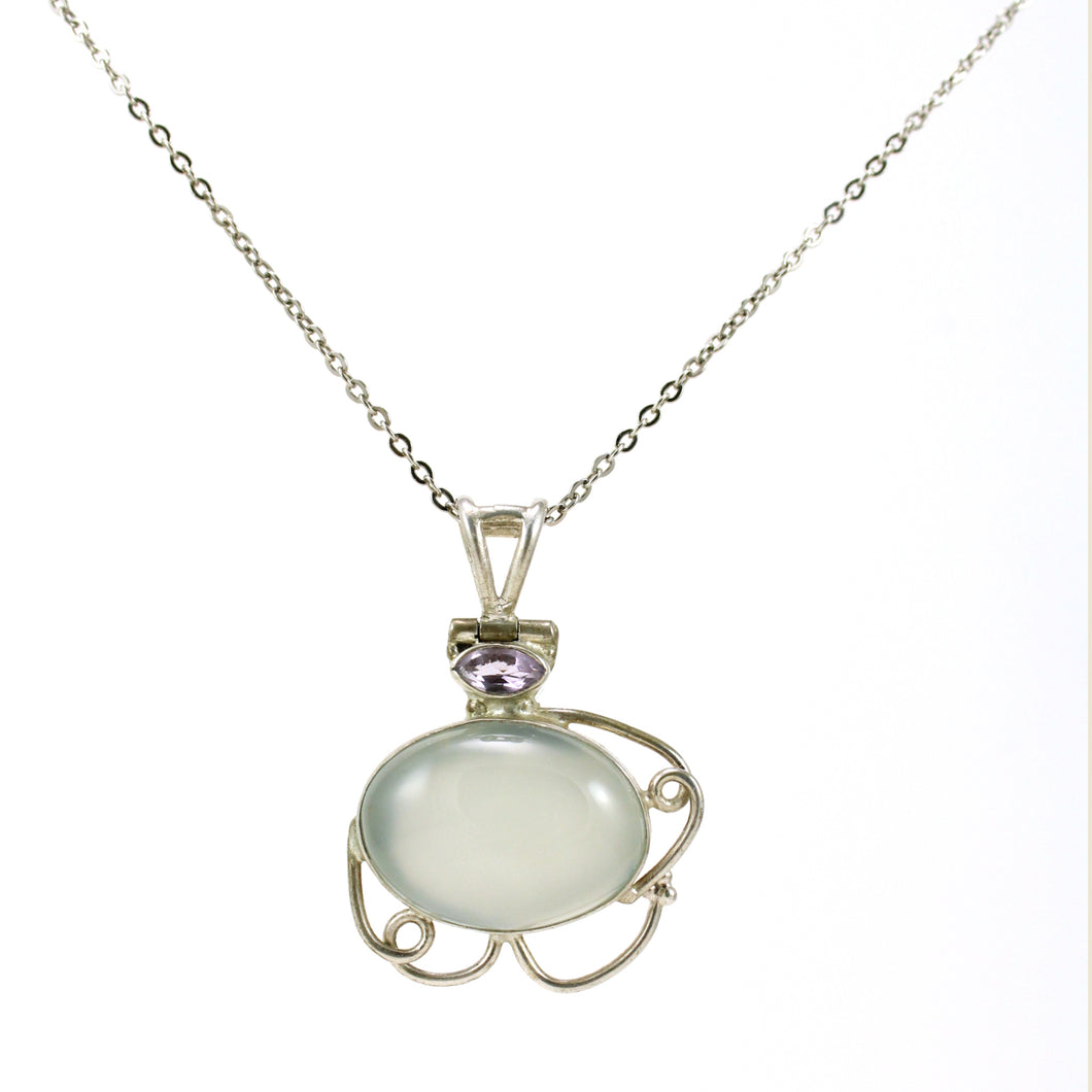 Moonstone and Amethyst pendant necklace
