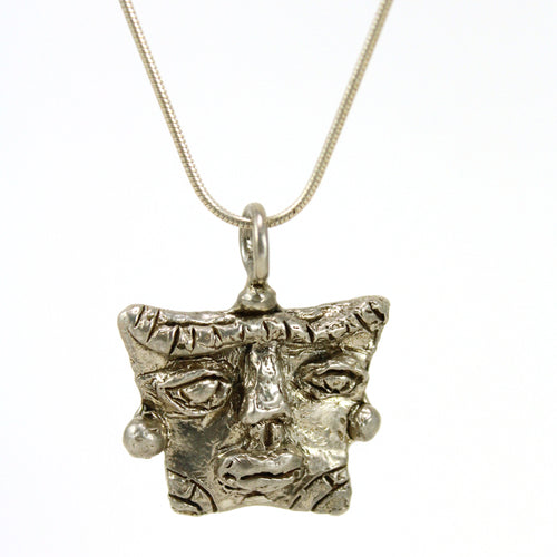 sterling silver african mask pendant necklace