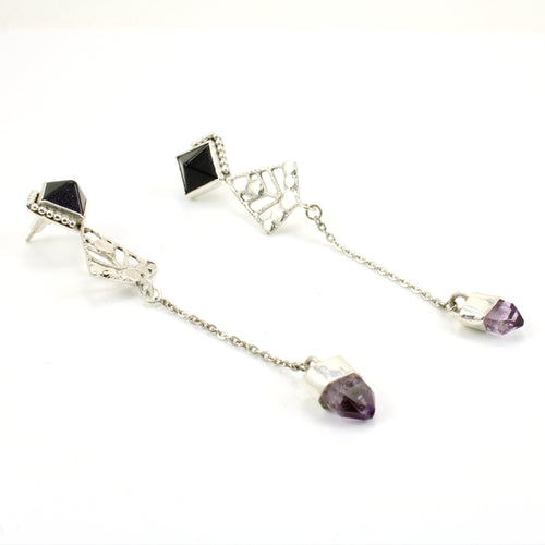 Sterling silver, sunstone and amethyst pyramid gemstone stud drop earrings.