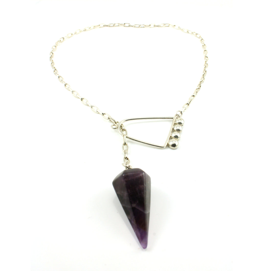 Amethyst Crystal  Point Lanyard Neclacke