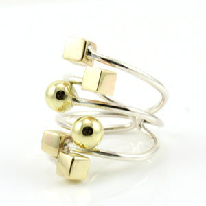 Cubes and Spheres- Adjustable wrap ring