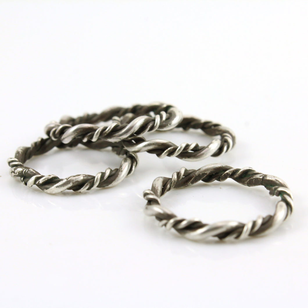 Twisted Sterling Silver Stack Rings