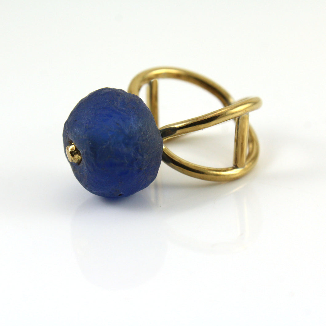 architectural brass ring with blue Krobo bead