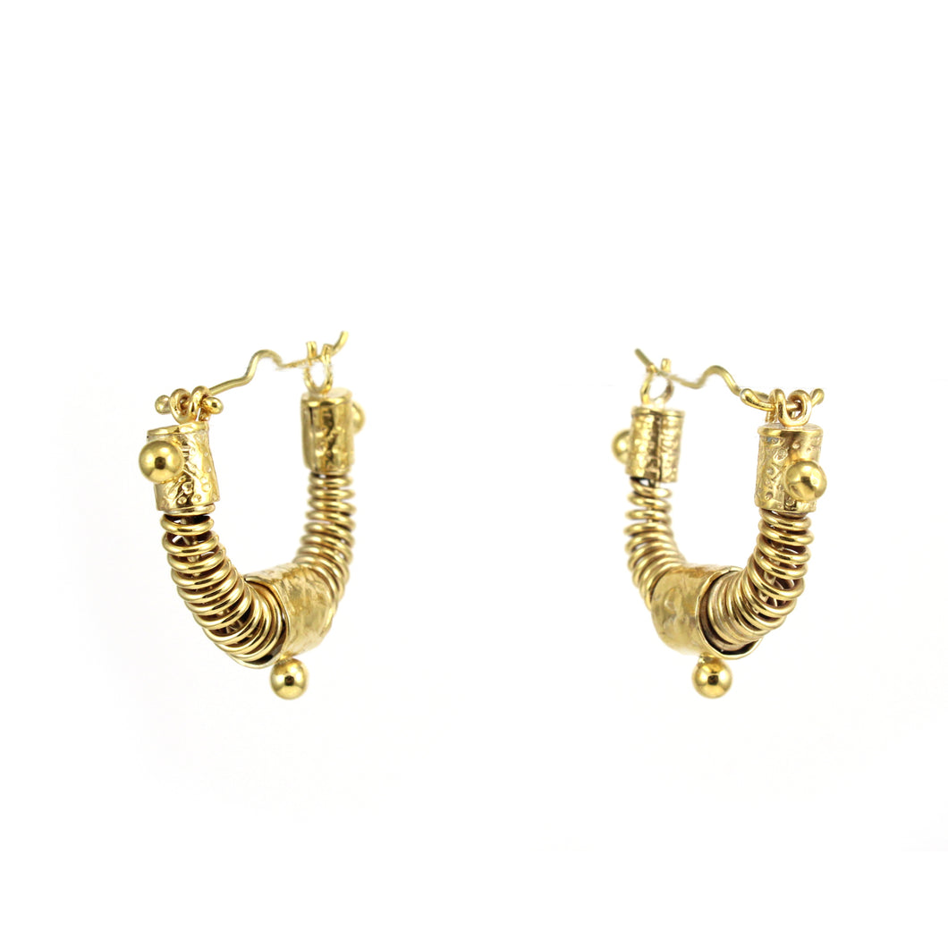 small gold toned West African inspired statement hoop earrings