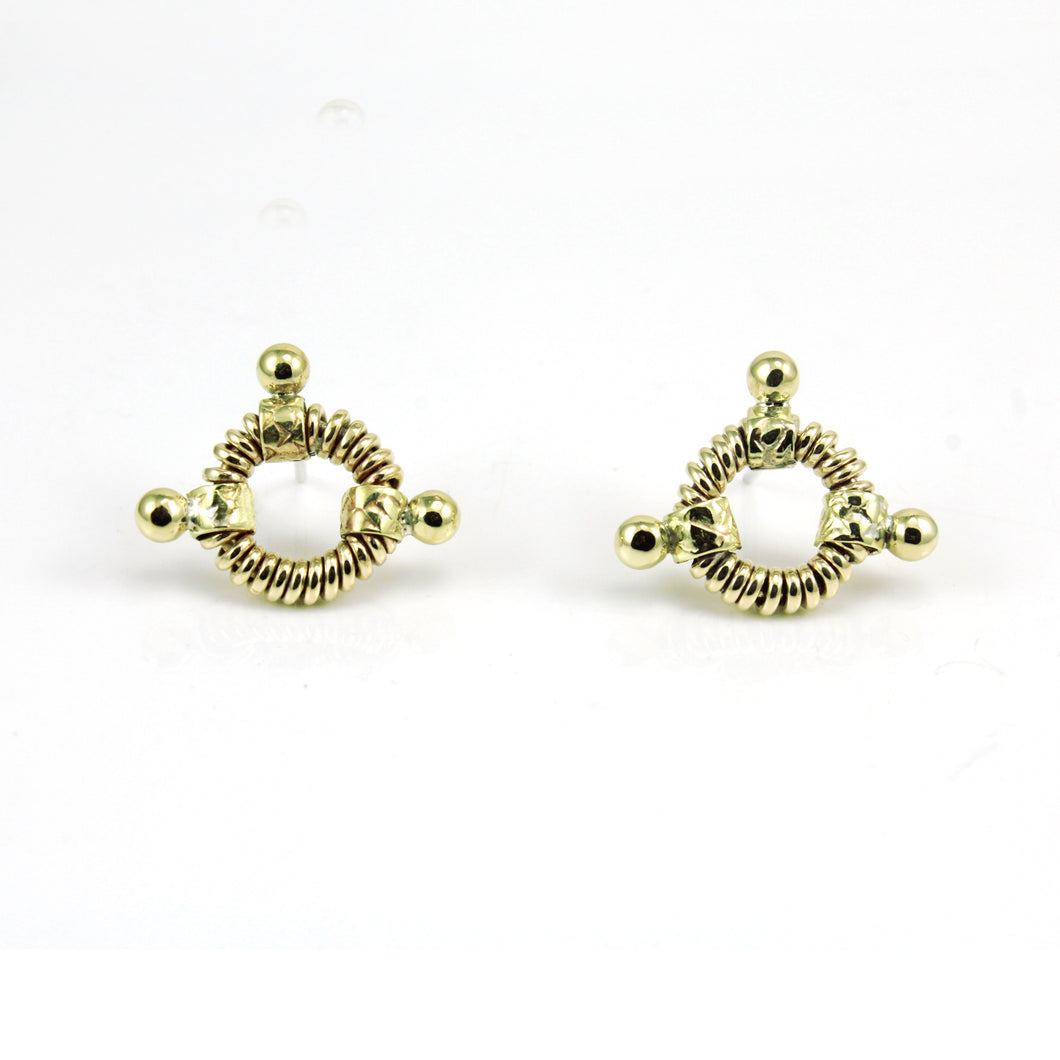 Gold toned, coiled circle post/stud earrings