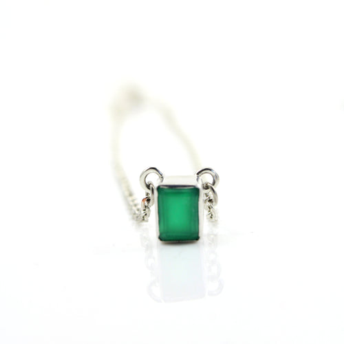 Emerald cut green onyx pendant necklace in sterling silver