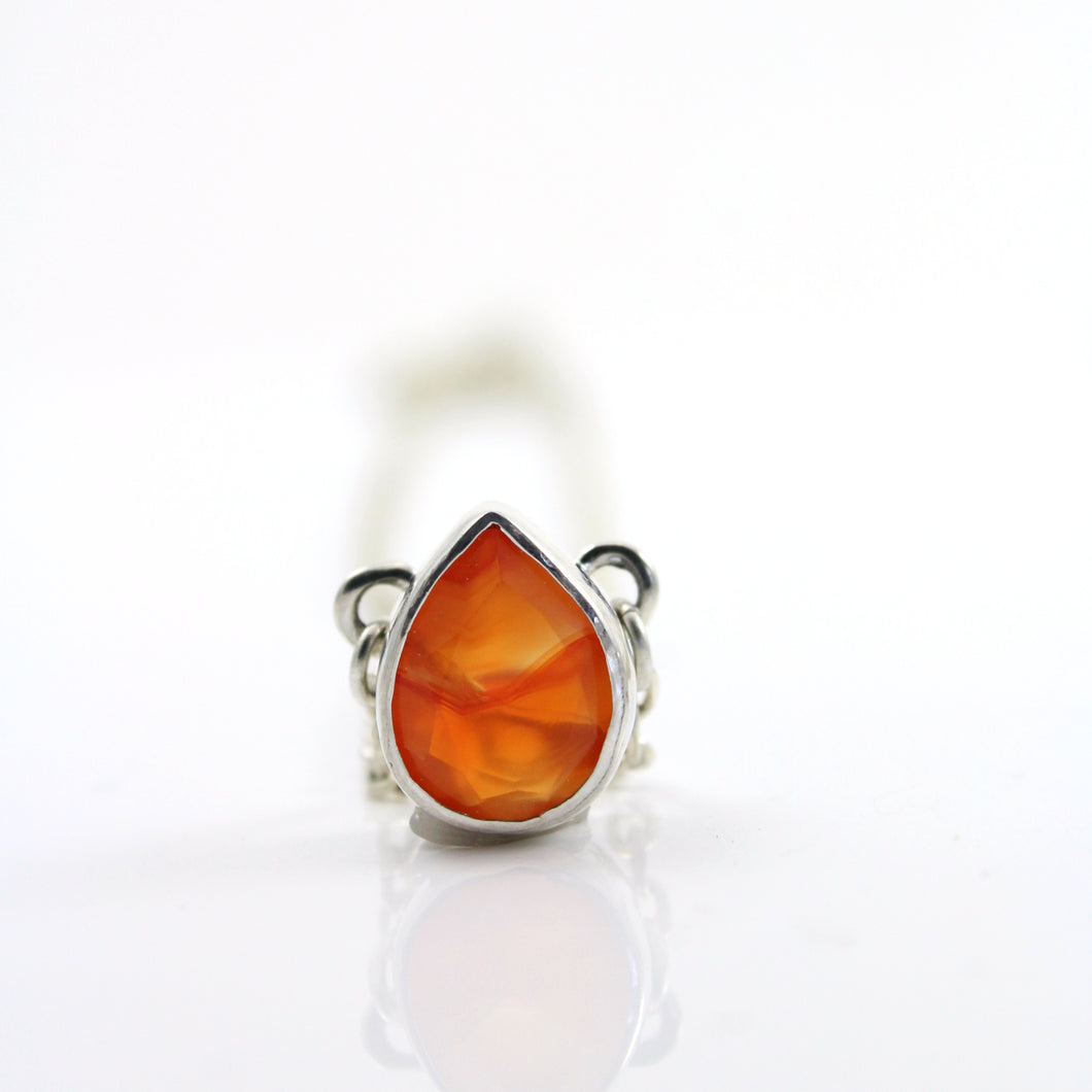 Pear shaped carnelian gemstone pendant necklace.