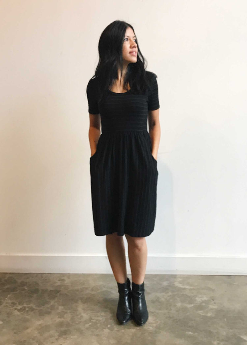 plume and thread-dress-black-isabel striped dress