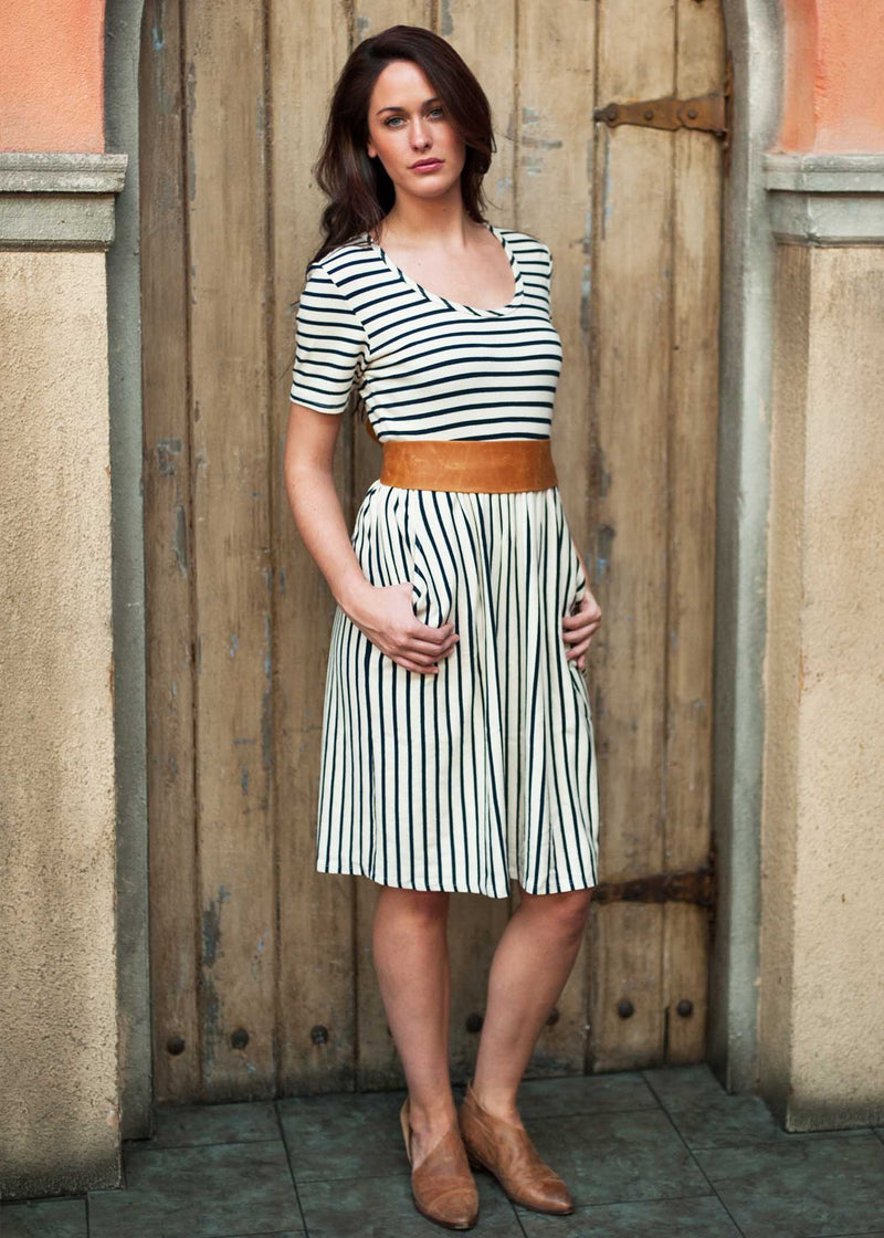 plume and thread-dresses and tunics-natural-isabel striped dress-lifestyle