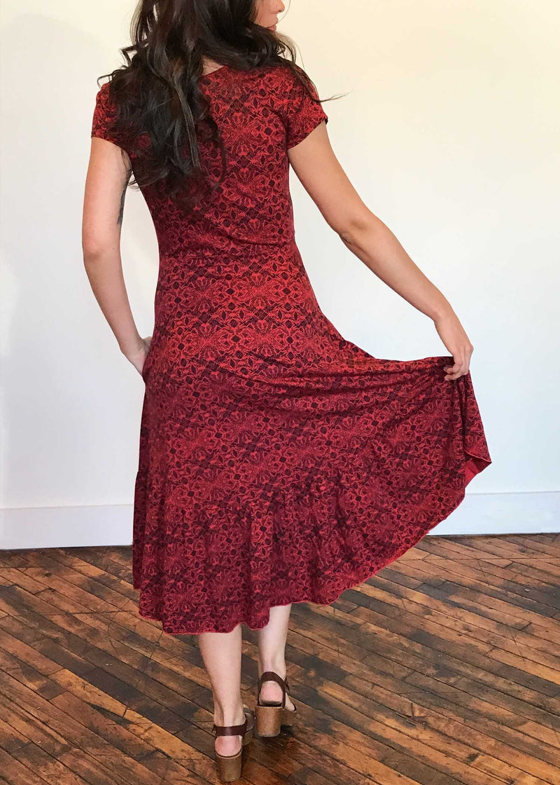 plume and thread-dresses and tunics-true red-anabel wrap dress-back