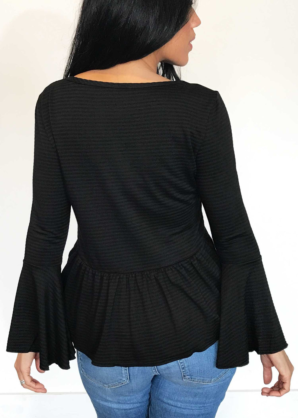 plume and thread-tops-black-lily bell sleeve-back