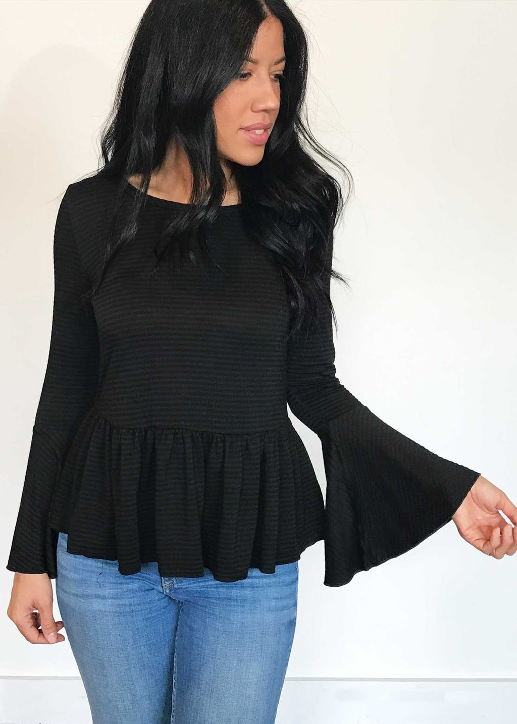 plume and thread-tops-black-lily bell sleeve-front