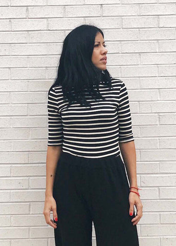 Lucy Striped Mock Neck