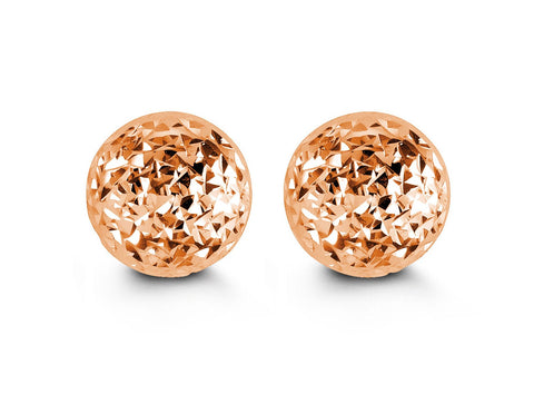 10mm Diamond Cut Rose Gold Ball Studs
