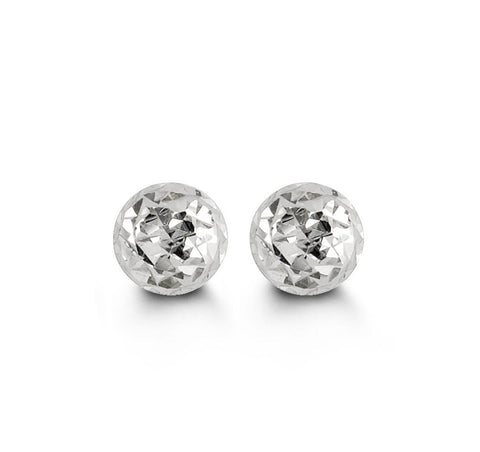 5mm Diamond Cut White Gold Ball Studs