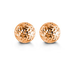 7mm Diamond Cut Rose Gold Ball Stud