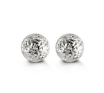 7mm Diamond Cut White Gold Ball Stud