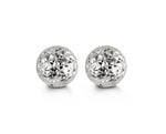 8mm Diamond Cut White Gold Ball Studs