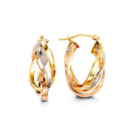 Tri-Tone 10K White/Yellow/Rose Hoops 1002