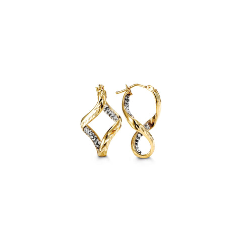 10K Yellow Gold with CZ Hoops 1006C