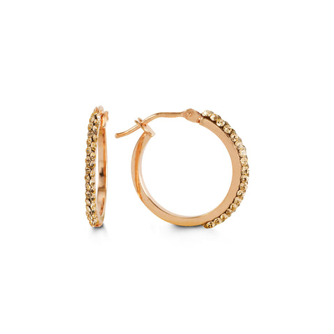 10K Rose Gold Hoops with CZ 1015D