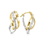 2-Tone 10K White/Yellow Gold Hoops 1018B