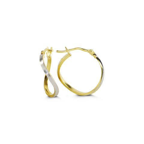2-Tone 10K White/Yellow Gold Hoops 1033D