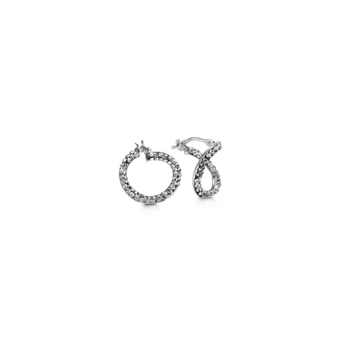 10K White Gold with CZ Hoops 1041C