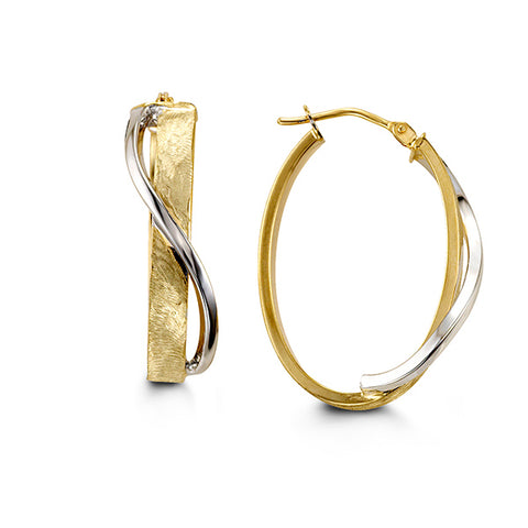 2-TONE 10K WHITE/YELLOW GOLD HOOPS 1048