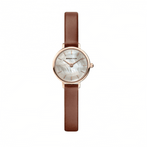 Bering Women's Classic Mother of Pearl Dial Brown Leather Watch