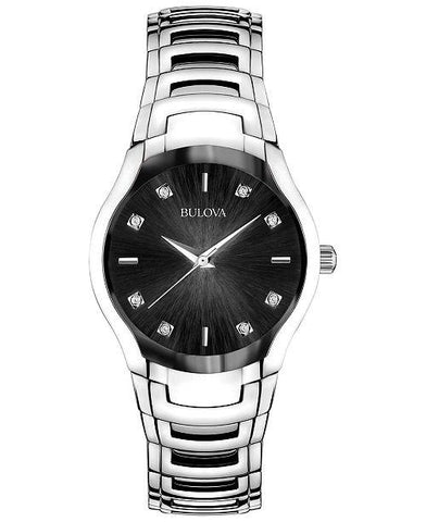 Bulova Women's Diamond-Dial Watch in Silver Tone