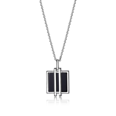 "Elle ""Midnight"" Square Agate Necklace"