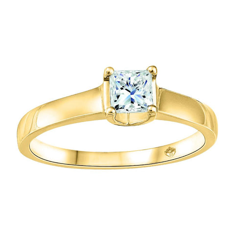 Fire and Ice Canadian Diamond, 14K YG Solitaire with 0.52 ct Princess Cut Center Stone
