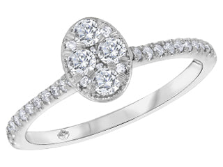 Fire and Ice Oval Style Diamond Ring
