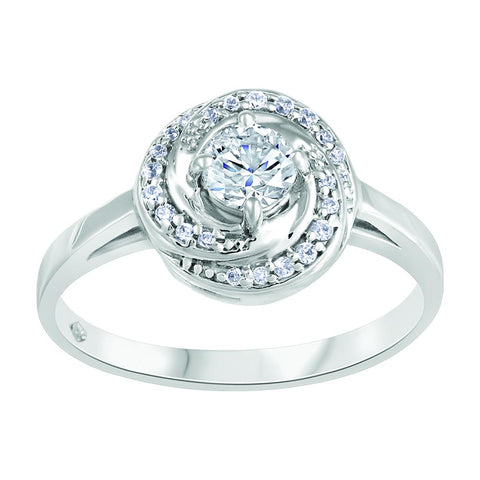 Forever Ice Canadian Diamond Ring , 14K WG Round Brilliant Cut Center Diamond with diamond halo