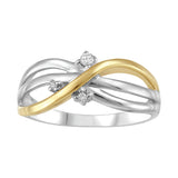 Sterling Silver with 10K Yellow Gold and Diamond Ring