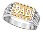"Sterling Silver ""DAD"" ring with 10K Gold Inlay"