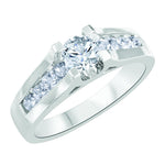 Forever Ice Canadian Diamond Ring, 14K YG Round Brilliant Cut Center Diamond with shoulder accents