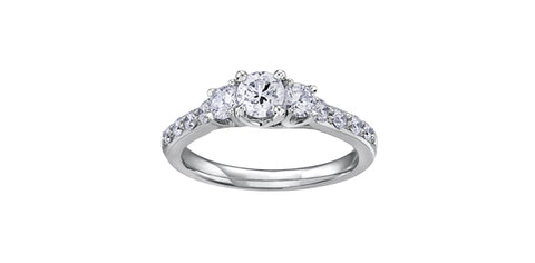 Diamond Trinity Ring with Shoulder Accents