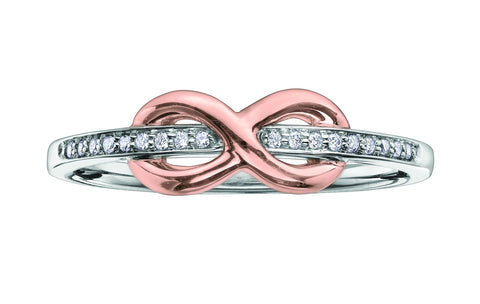 10K White Gold Ring with Rose Gold Infinity Ring