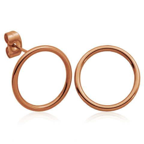 Steelx Rose Plated Circle Studs