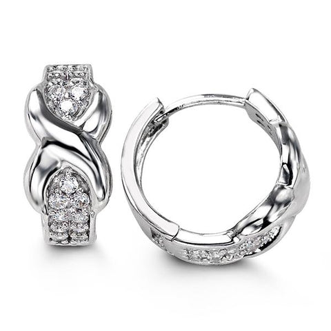 Sterling Silver Huggies with CZ 5104