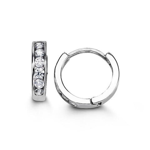 Sterling Silver Huggies with CZ 5105